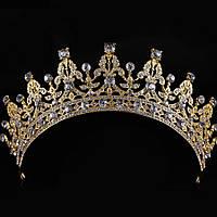 Свадебная диадема, корона, тиара на голову для невесты позолоченая 4788с-б
