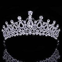 Свадебная диадема, корона, тиара на голову для невесты посеребрение 4790с-а