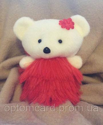 Игрушки в букеты. молочный мишка в красном платье - Оптомкард в Киеве