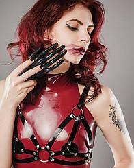 Портупея лиф лак натуральная кожа женская черная ручная работа P-10