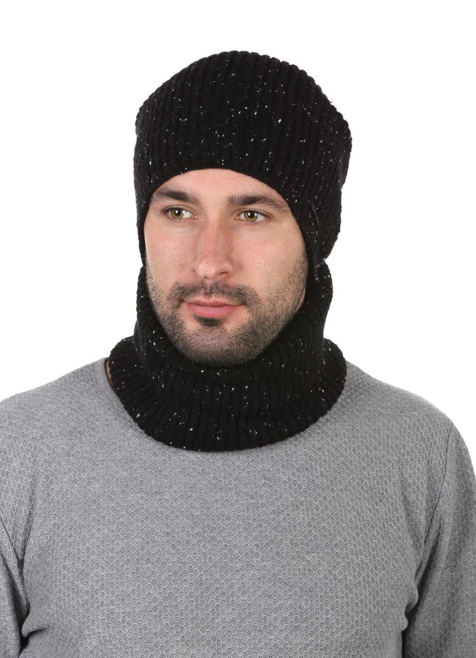 Комплект вязаный шапка и баф черный