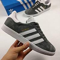 Мужские кроссовки Adidas Gazelle (Адидас Газель) темно-серые