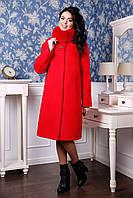 Пальто женское кашемировое с меховым воротником