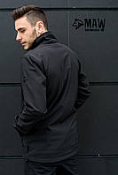 Soft Shell Мужская зимняя куртка на флисе влагоустойчевая MAW man&wolf черная
