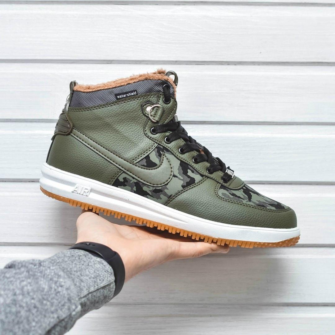 9053295d Мужские зимние кроссовки Nike Lunar Force 1 Duckboot Military хаки цвет  (Реплика AAA+) -