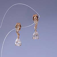 Серьги Xuping с белыми кристалликами 2х0,5см цвет металла золото