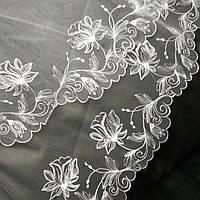 Белая фата с вышивкой по краю М-5