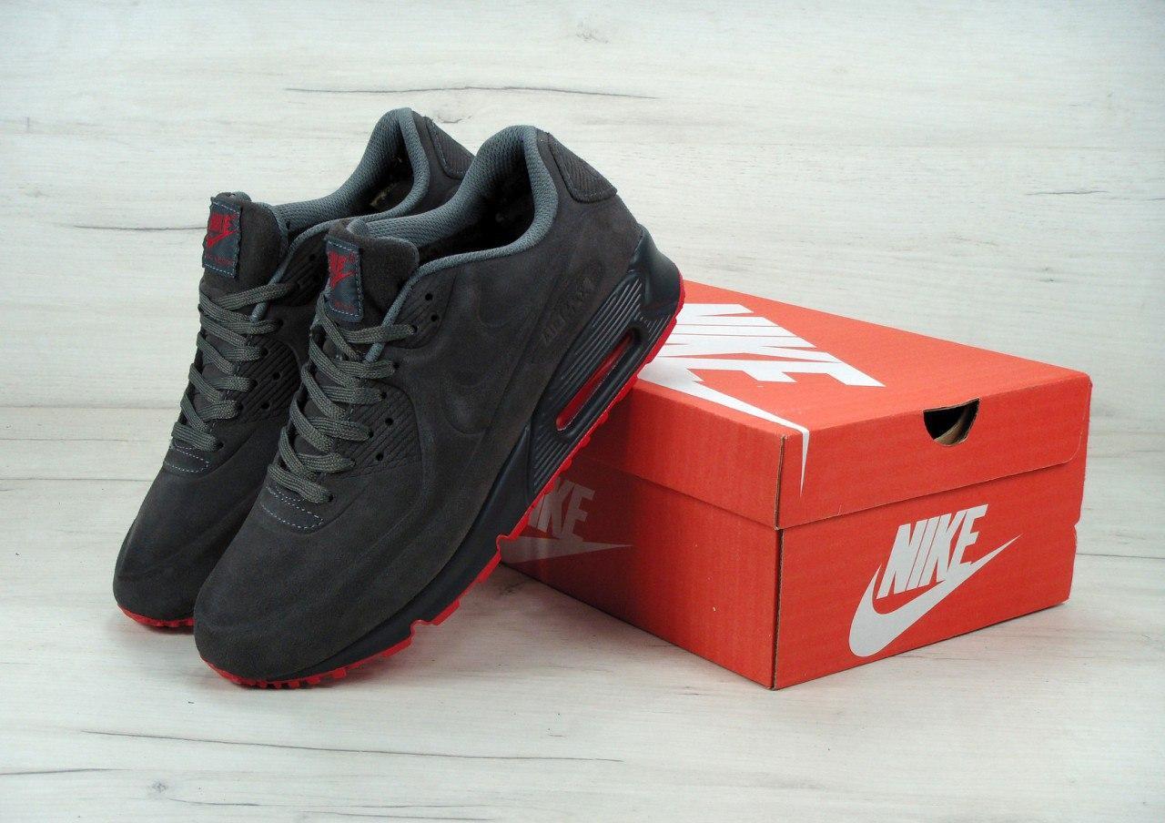 7525d1a3 Зимние кроссовки мужские Nike Air Max 90VT FUR Gray/Red Реплика ...