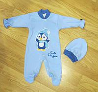 Человечек + шапочка для новорожденных с пингвином (рост 62, 68 см)