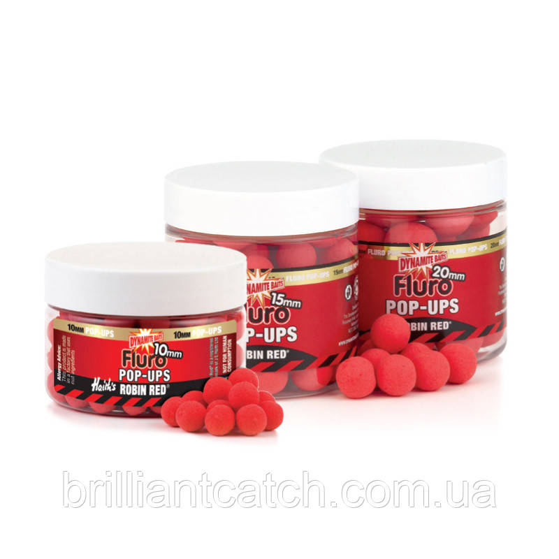 Бойлы Dynamite Baits Robin Red Fluoro Pop-Ups 15mm 100g