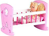 Кроватка качалка деревяная  с мягкой  куклой