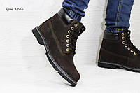 Мужские ботинки Timberland Зима. Нубук Мех 100% Шоколад