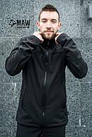 Soft Shell Мужская горнолыжная куртка на флисе влагоустойчевая MAW man&wolf черная+подарок