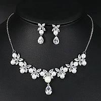 Весільний набір з перлами ювелірна біжутерія сріблення 47106с, фото 1