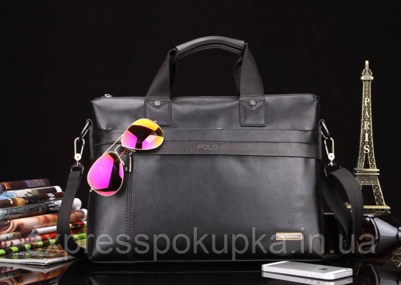 Мужская кожаная сумка-портфель POLO   2 цвета