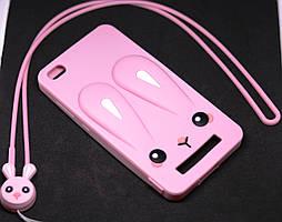 Чехол Бампер 3D для Xiaomi Redmi 3 резиновый Funny-Bunny розовый