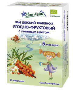 Детский травяной чай Fleur Alpine  ЯГОДНО-ФРУКТОВЫЙ С ЛИПОВЫМ ЦВЕТОМ