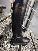 Зимние кожаные женские ботинки Гуччи на низком ходу