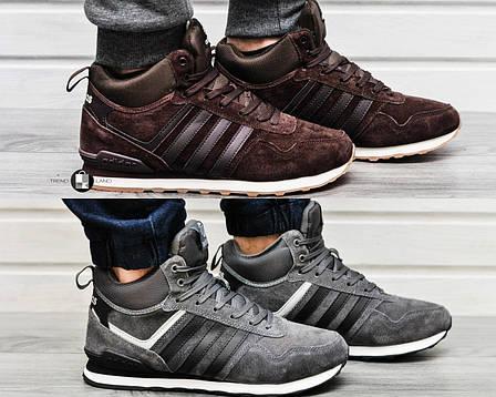 Мужские зимние кроссовки Adidas NEO New с натуральным мехом 2 цвета (Реплика  AAA+), bd0bd4ad89a