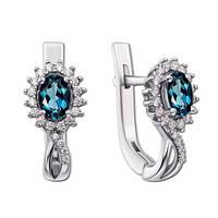 Серебряные серьги Жасмин с топазами лондон и цирконием 000008335