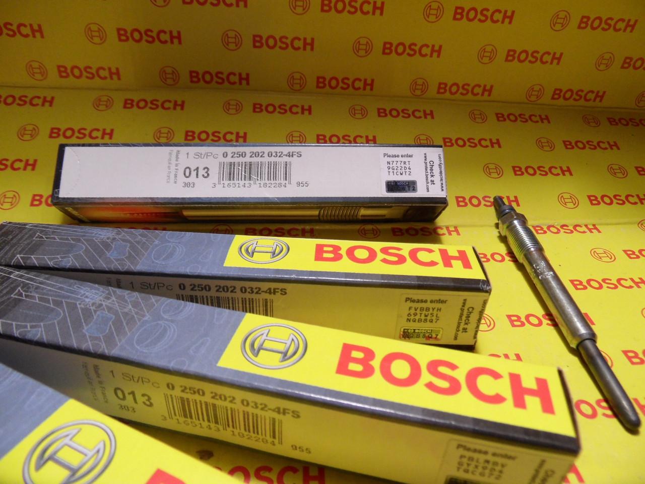 Свічки розжарювання Bosch, 0250202032, 0 250 202 032