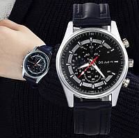 Мужские часы на кожаном ремешке DG Speed черные
