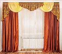 Набор в зал ламбрекен + шторы Ewelina4 (красное золото), фото 1