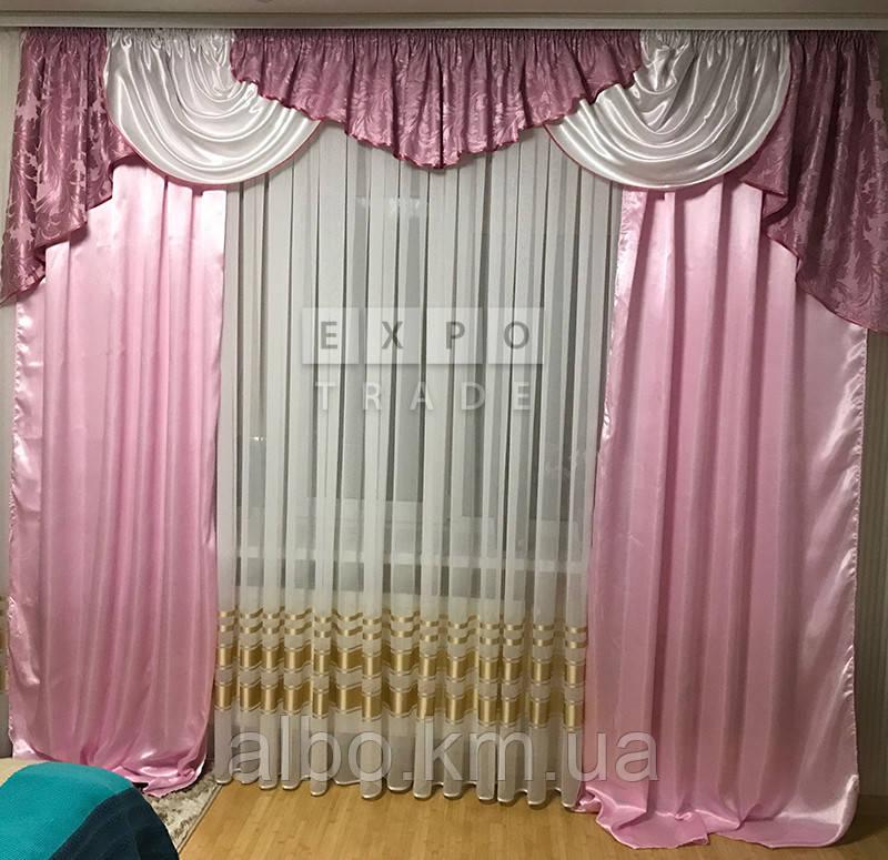 Набор в зал ламбрекен + шторы Ewelina2 (розовый)