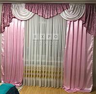 Набор в зал ламбрекен + шторы Ewelina2 (розовый), фото 1