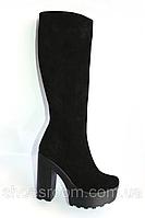 Замшевые женские сапоги на высоком каблуке