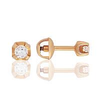 Золотая серьга с бриллиантом Ирма 000017623