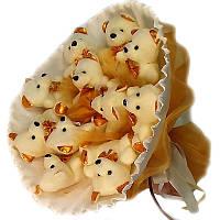 Букет из мягких игрушек Мишки белые 11 в бело-золотом