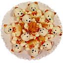 Букет из мягких игрушек Мишки белые 11 в бело-золотом, фото 3
