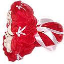 Букет из мягких игрушек Мишки 11 белые в красном, фото 2