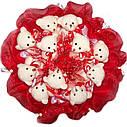 Букет из мягких игрушек Мишки 11 белые в красном, фото 3