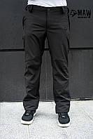 Soft Shell Мужские спортивные брюки на флисе MAW man&wolf черные
