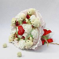 Букет из игрушек Мишки белые 7 с сердечками