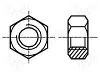 Гайка шестигранная M3 латунь (Покрытие никель)