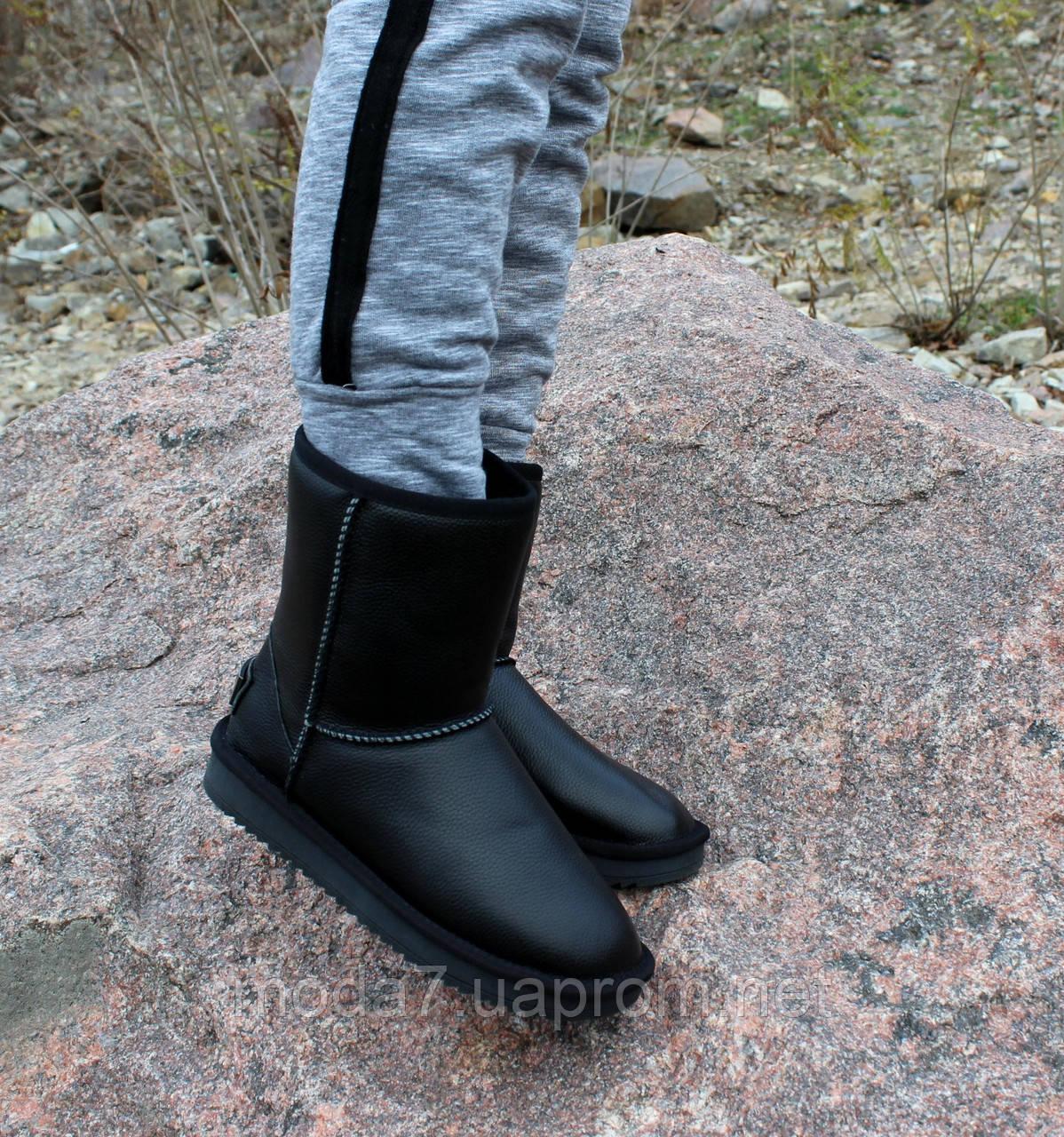 Кожаные женские УГГИ натуральная кожа, натуральный мех черные