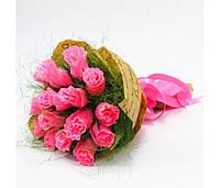 Букет из конфет Розы 15 розовые Крафт