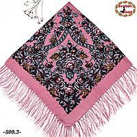 Розовый павлопосадский платок Непревзойдённая роспись