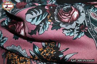 Розовый павлопосадский платок Непревзойдённая роспись, фото 2