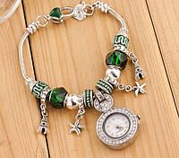 Женские часы в стиле Пандора зеленые