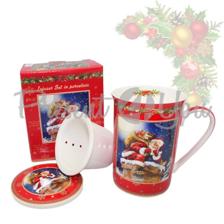 Кружка-заварник с фарфора и керамическим ситом  в подарочной коробке «Christmas Time», h-9,5 см, 350 мл