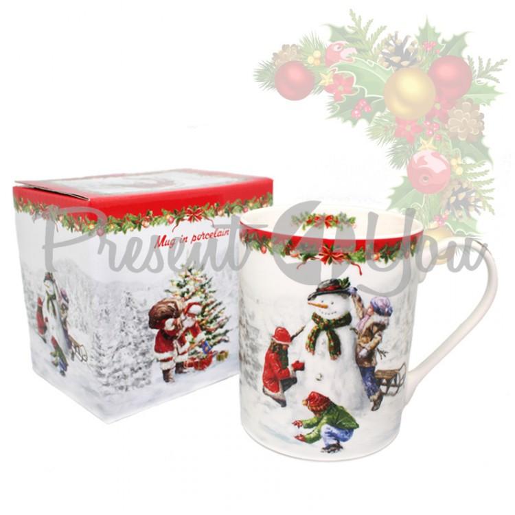 Кружка с фарфора с новогодним рисунком в подарочной коробке «Christmas Time», h-9,5 см, 375 мл