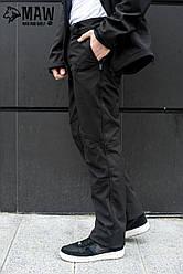 Soft Shell Мужские тактические брюки софтшелл на флисе влагоустойчевые MAW man&wolf черные +подарок