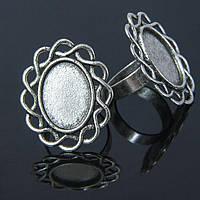 Основа для кольца винтаж, под кабошон, овальная, античное серебро УТ100006252