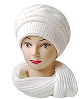 Комплект шапка и шарф женский вязаный Carina шерсть с ангорой белого цвета