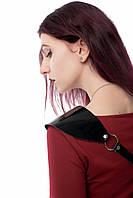 Портупея лак натуральная кожа женская черная ручная работа P-16