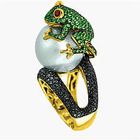 Кольцо Лягушка с жемчужиной 9 мм-Tiffany style-18.8 р-S925+18к GP,Италия-Эксклюзив !